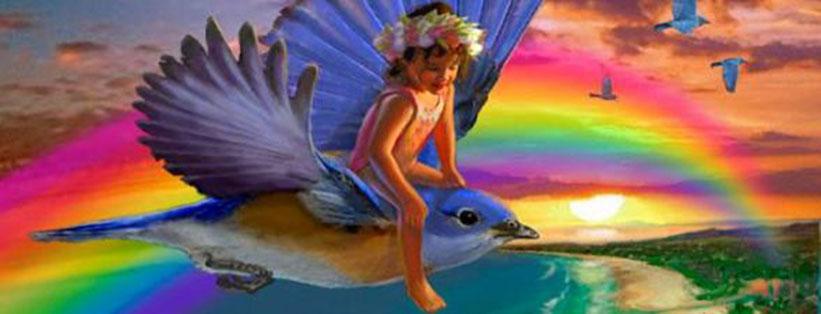 Meisje op vogel - Fantasy