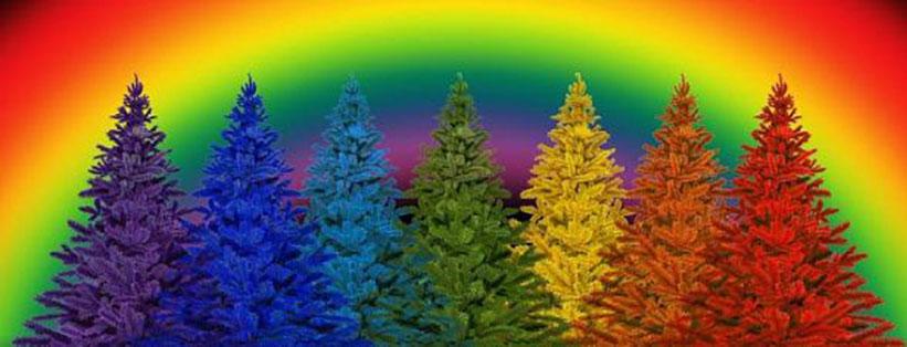 Gekleurde bomen en regenboog